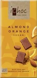 czekolada z migdałami i kawałkami pomarańczy (na napoju ryżowym) BIO 80 g -