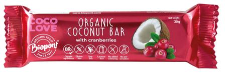 Baton kokosowy z żurawiną bezglutenowy BIO 30 g