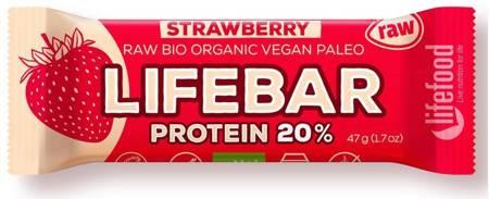 Baton proteinowy z truskawkami raw bezglutenowy BIO 47 g