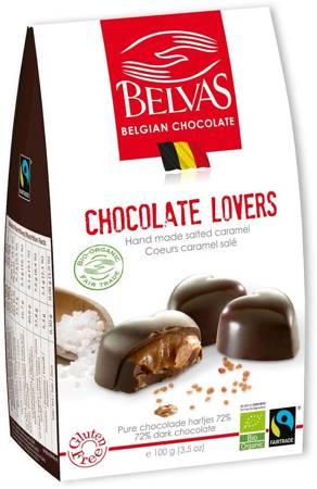 Belgijskie czekoladki serca z karmelem i solą morską fair trade bezglutenowe BIO 100 g