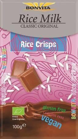 Czekolada z chrupiącym ryżem bez laktozy bezglutenowa (na napoju ryżowym) BIO 100 g